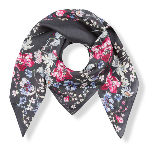 Archive Inspired Floral Circle Silk Square Scarf
