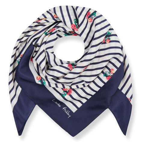 Berry Stripe Mini Square Scarf