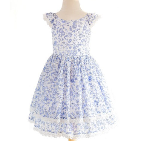 Blue and White Floral Toddler Dress