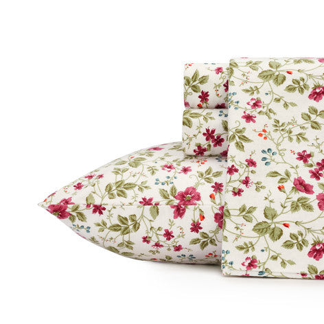 Spring Bloom Cranberry Flannel Sheet Set