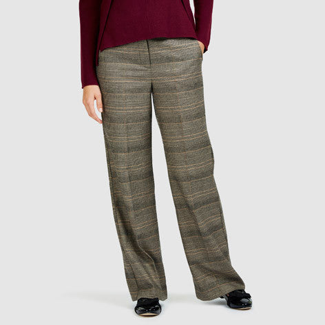Wide Leg Check Trousers