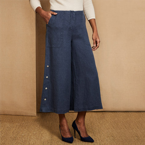 Linen Side Button Culottes