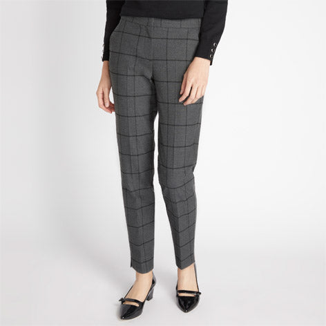 Grey Fine Check Trousers