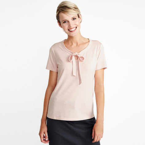Short Sleeve Pink Neck-Tie Top