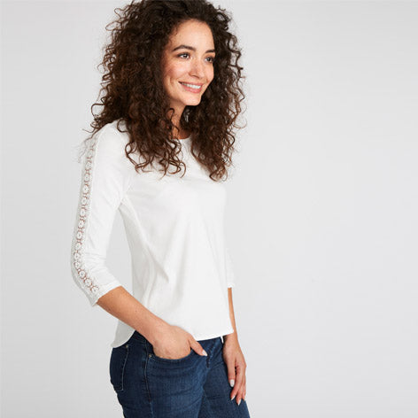 Ivory Lace Trim Insert Top