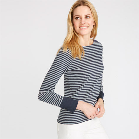 Blue Striped Tee with Cuff Detail