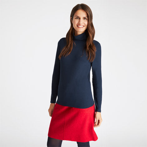 Navy Roll Neck Jersey