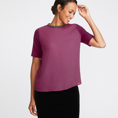 Magenta Beaded Neck Top