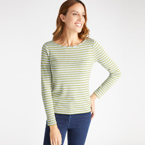 Grey and Green Striped Top