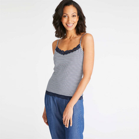 Striped Lace Trim Camisole Top