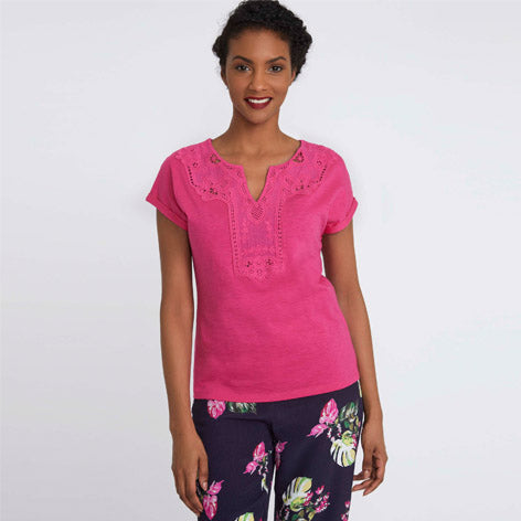 Pink Embroidered T-Shirt
