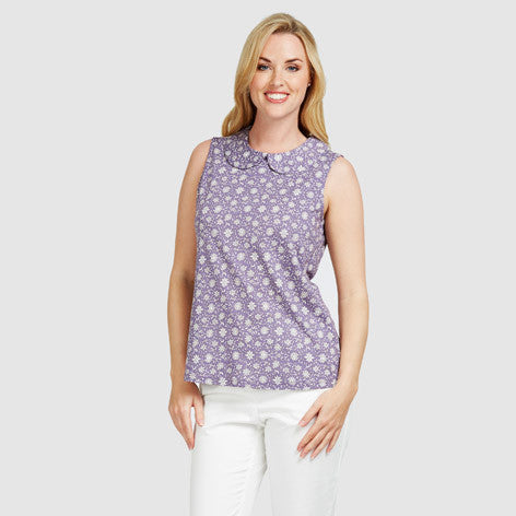 Peter Pan Floral Print Top