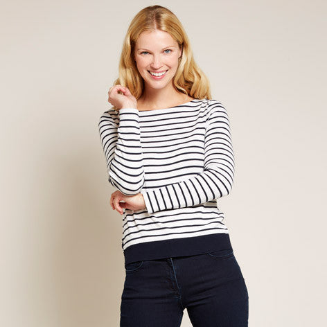 Striped Button Detail Top