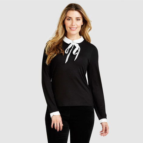 Peter Pan Collar Tie Neck Top