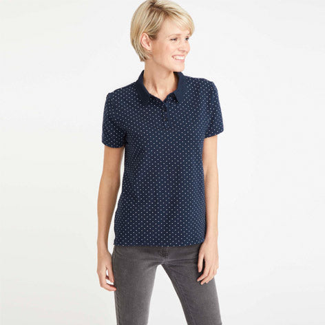 Navy Polka Dot Shirt with Collar