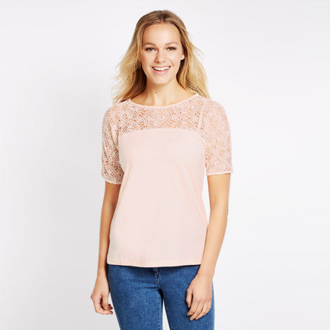 Crochet Yoke Jersey Top