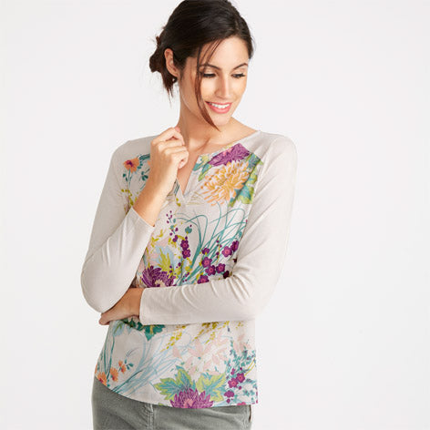 Dahlia Printed Long Sleeved Top