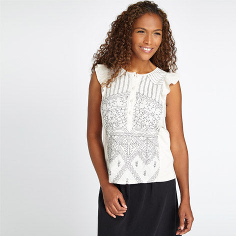 Ruffle Shoulder Embroidered Top