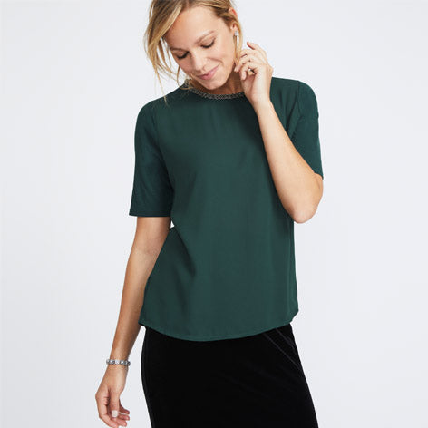Green Beaded Neck Top