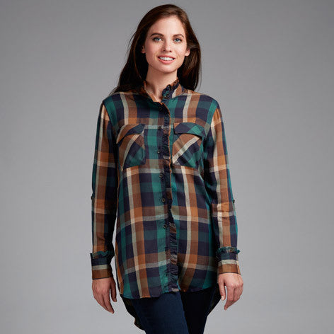 Ruffle Front Plaid Tunic