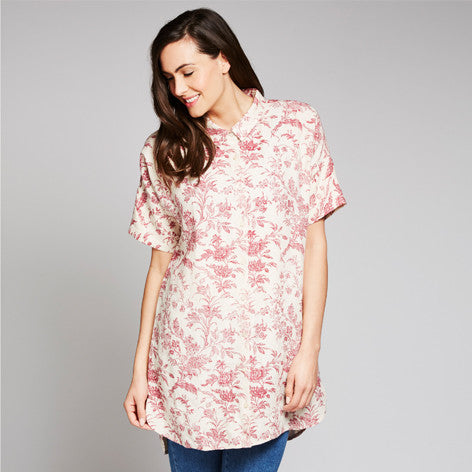Floral Toile Print Linen Tunic