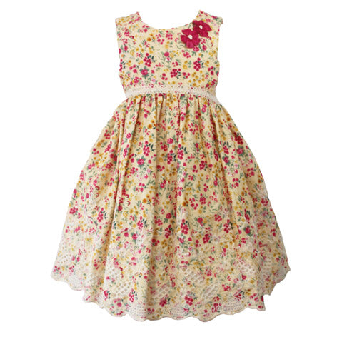 Sleeveless Floral Trellis Toddler Dress