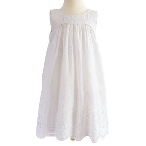 White Cotton Embroidery Toddler Dress