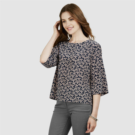 Tie Back Floral Silk Top