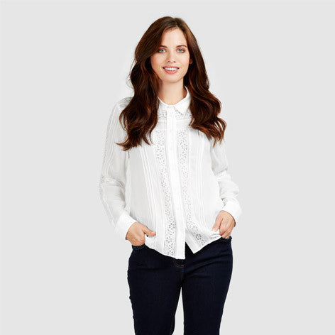 Lace and Pintuck Detail Blouse