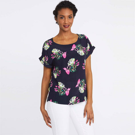 Short Sleeve Tropical Print Blouse