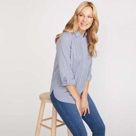 Pintuck Chambray Blouse