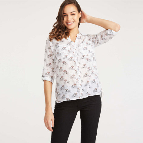 Bicycle Print Blouse