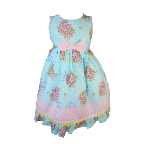 b1674ad1aed Blue Bouquet Print Toddler Dress with Bow at Waist