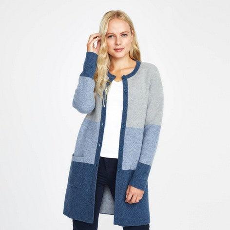 Blue Boiled Wool Colour Block Cardigan
