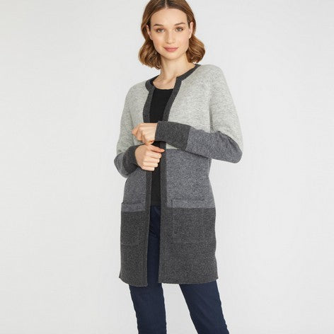 Boiled Wool Colour Block Long Cardigan