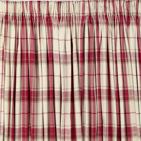 Highland Check Cranberry Pencil Pleat Ready Made Curtains
