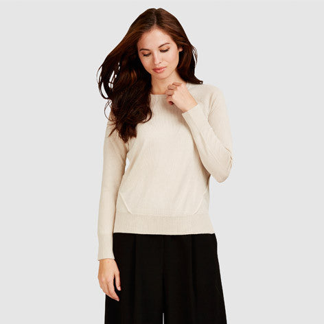 Dipped Hem Wool and Silk Sweater