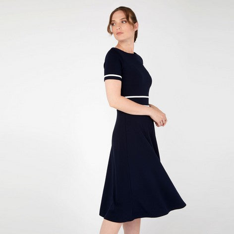 Navy and Ivory Contrast Trim Dress