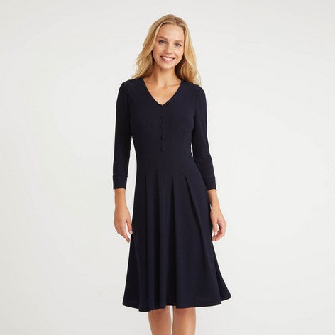 Navy Button Up Fit and Flare Crepe Dress