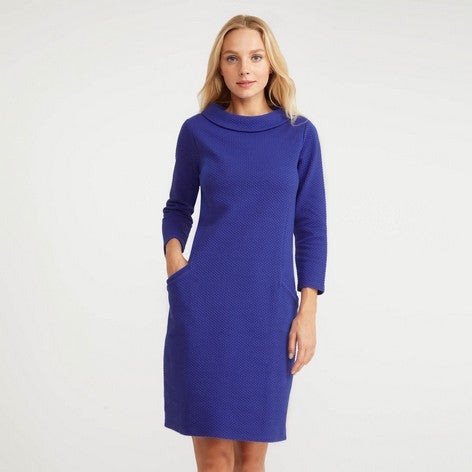 Cobalt Bardot Neck Textured Dress