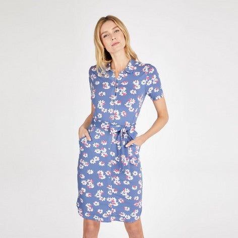 Blue Blossom Print Jersey Shirt Dress