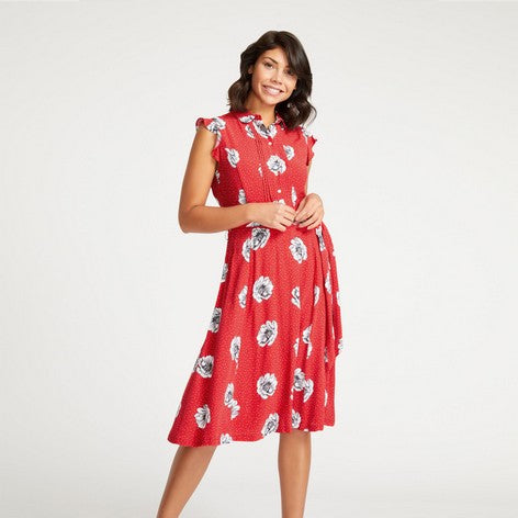Red Dotty Floral Fit and Flare Dress