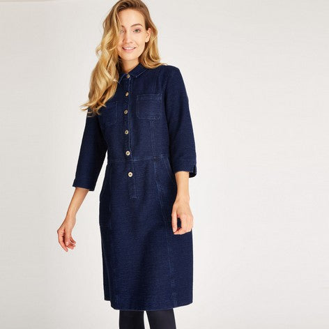 3/4 Sleeve Denim Shirt Dress