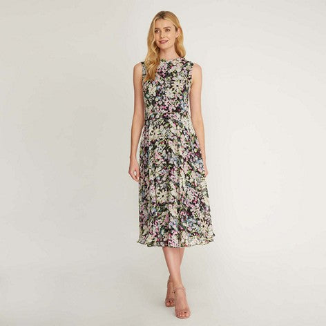 Summer Floral Chiffon Fit and Flare Dress