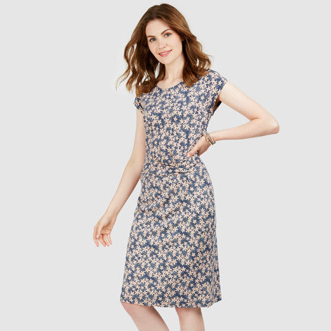 Pin Point Floral Twist Jersey Dress