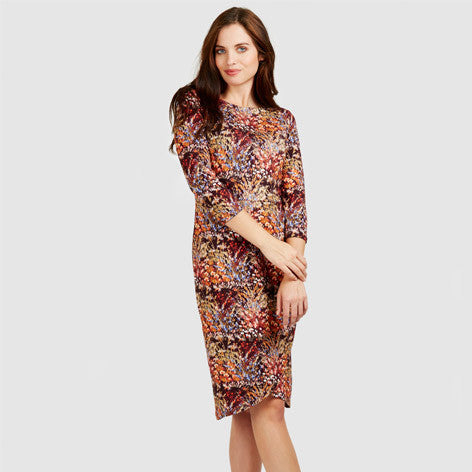 Harvest Print Floral Jersey Wrap Dress