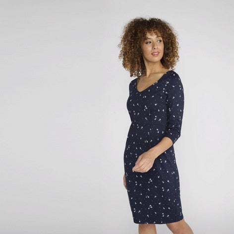 3/4 Sleeve Navy Spot Floral Dress