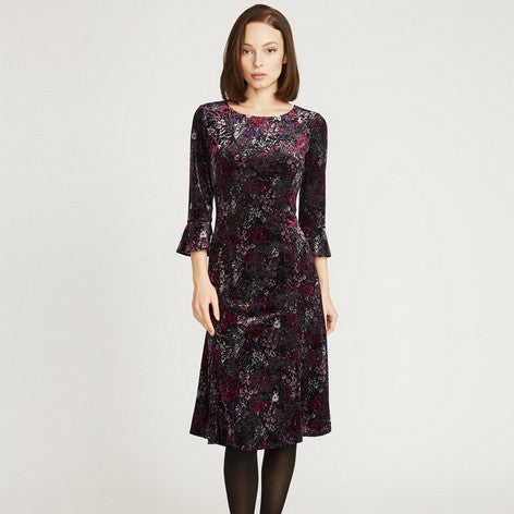 Velvet Burnout Floral Flippy Dress