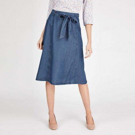 Indigo Tencel Midi Skirt
