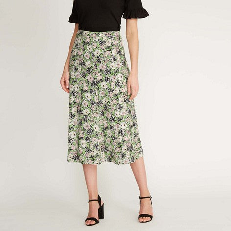 Midi Garden Bloom Button Skirt